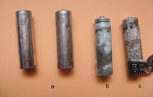 Zinc–carbon battery - Progressive corrosion of zinc–carbon batteries.