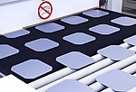 Solar wafers on the conveyor