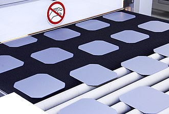 Wafer (electronics) - Solar wafers on the conveyor