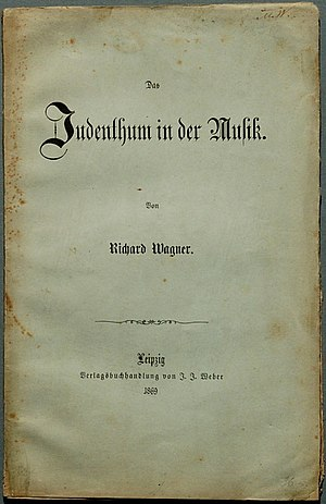 Das Judenthum in der Musik - Title page of the second edition of Das Judenthum in der Musik, published in 1869