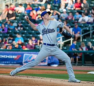 2018 Los Angeles Dodgers season - Walker Buehler, seen here with the Tulsa Drillers, pitched five scoreless innings in his first major league start on April 23.