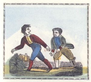 "Pedestrianism - An 1836 illustration of a ""Walking Wager"", from Peter Piper's Practical Principles of Plain and Perfect Pronunciation, by Anonymous, Philadelphia."