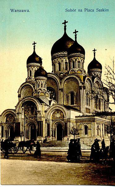 > Chiesa ortodossa a Varsavia distrutta dopo l'indipendenza della Polonia nel 1919.