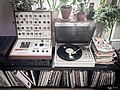Weekend setup - Synths (EMS VCS 3), vinyls and cartoons. Nerd heaven in Kimito (2015-05-16 13.04.49 by Ville Hyvönen).jpg