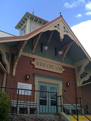 West Chicago train station, on Metra's Union P...