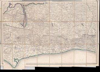 West Sussex - 1813/54 one inch to the mile OS map