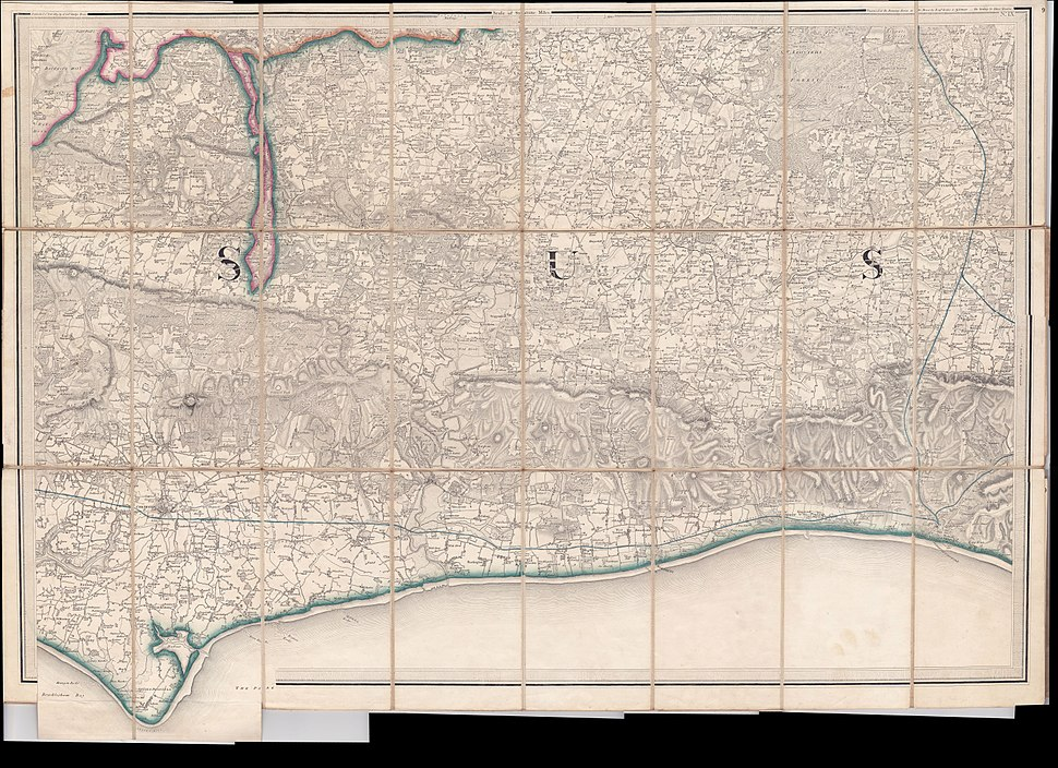 West Sussex 1813 One Inch to the Mile map scan