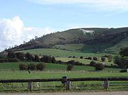utsikt over Westbury White Horse fra den foreslåtte østlige bypass
