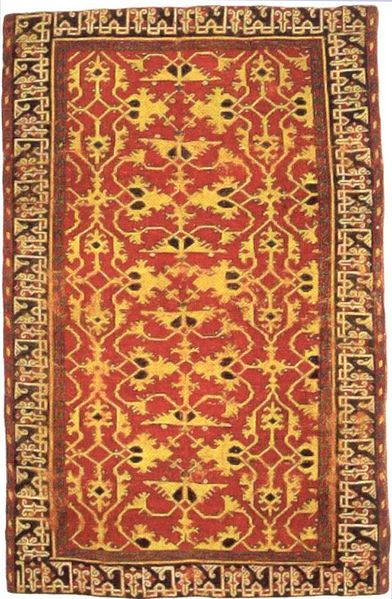 Datei:Western Anatolian knotted woll carpet with Lotto patern 16th century Saint Louis Art Museum vertical.jpg