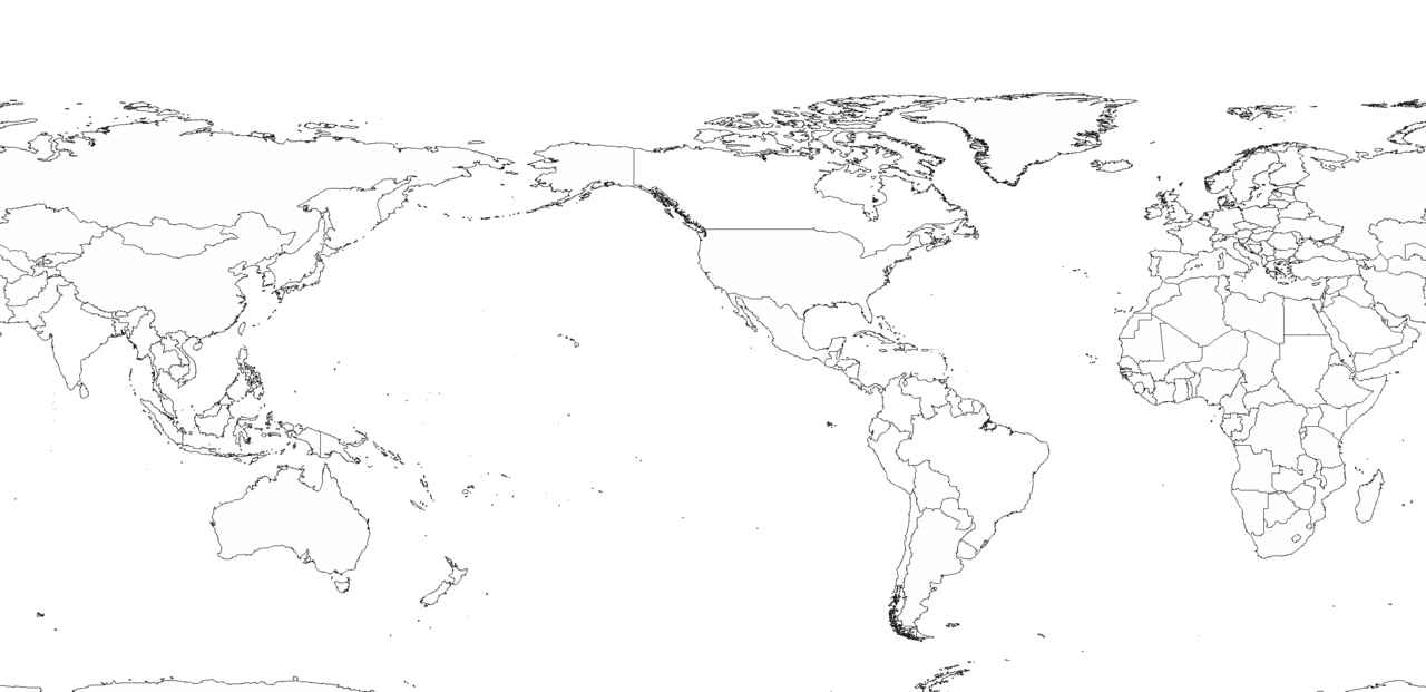 Blank World Map America Centered