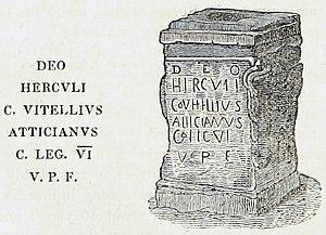 Legio VI Victrix - Altar to Hercules, naming Gaius Vitellius Atticanus, Centurion of the Legio VI Victrix, at Whitley Castle. Illustration by Thomas Sopwith, 1833.