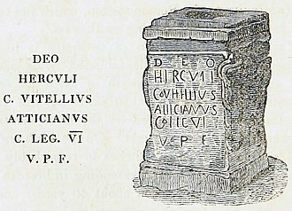 Legio VI Victrix - Altar to Hercules, naming Gaius Vitellius Atticanus, Centurion of the Legio VI Victrix, at Whitley Castle. Illustration by Thomas Sopwith, 1833.