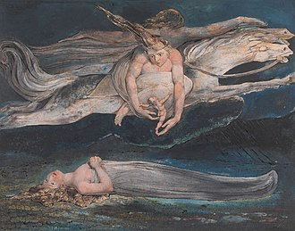 "Pity by William Blake, 1795, Tate Britain, is an illustration of two similes in Macbeth: ""And pity, like a naked new-born babe, Striding the blast, or heaven's cherubim, hors'd Upon the sightless couriers of the air."" WilliamBlakePity.jpeg"