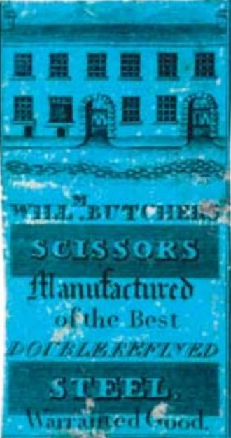 Butchers Wheel - Label from the 1820s advertising William Butcher's scissors, depicting the Eyre Lane frontage of the works at the time