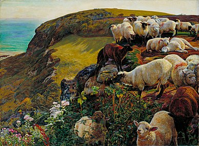 William Holman Hunt - Our English Coasts, 1852 (`Strayed Sheep') - Google Art Project.jpg