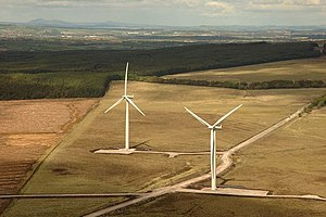 Wind power in the United Kingdom - Two of the wind turbines at the Black Law Wind Farm in Scotland