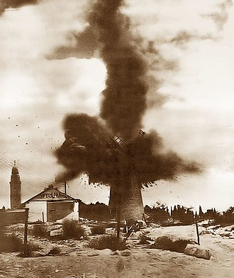 Montefiore Windmill - Blowing up of the windmill by the British in 1948