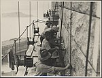 Workers on the south-western pylon of the Sydney Harbour Bridge, 1932 (8283772568).jpg