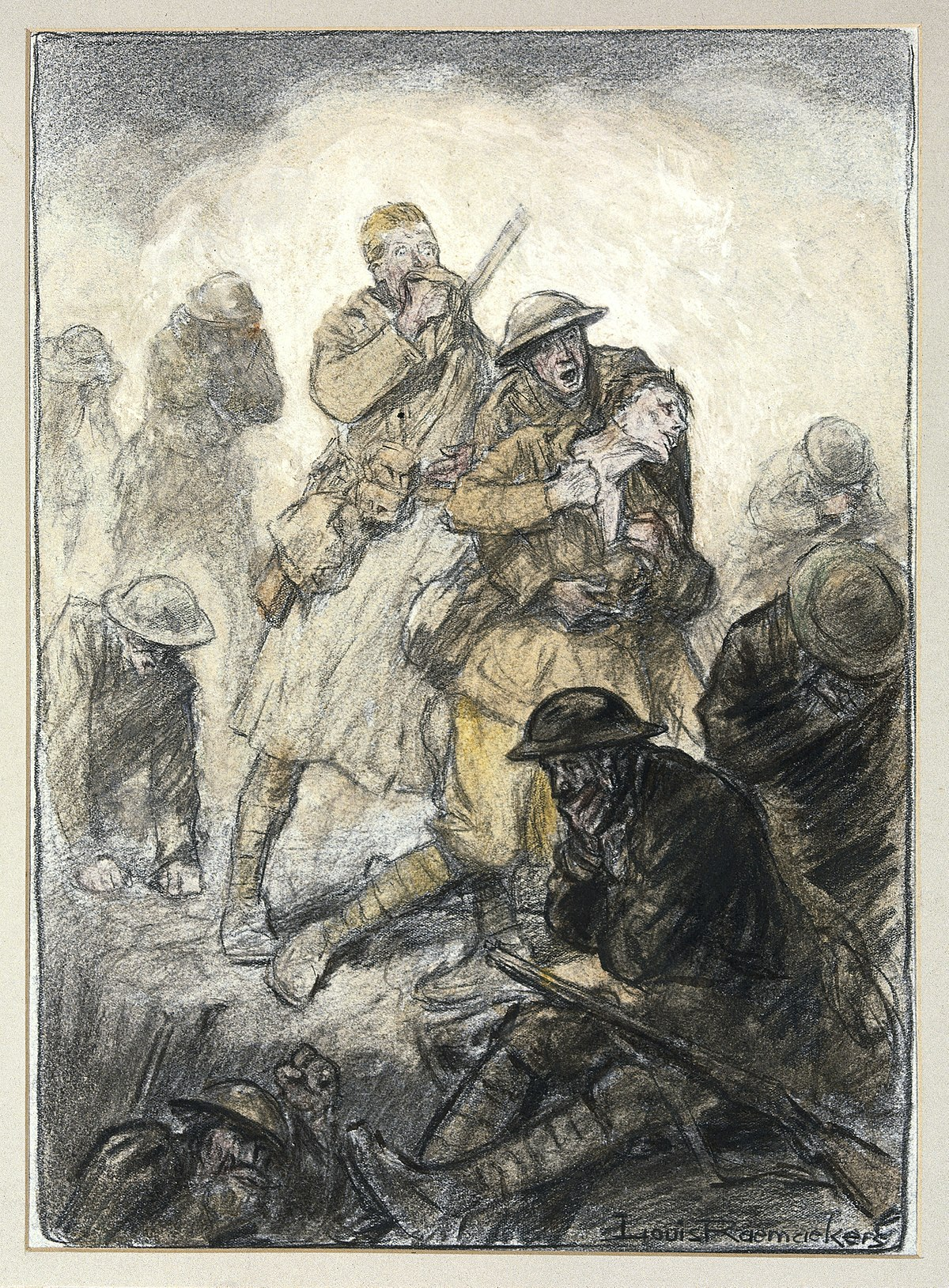 World War I; a poisonous gas attack on the Canadians in Flan Wellcome V0018241.jpg