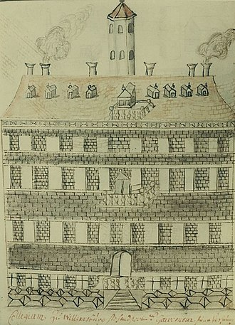 Wren Building - Earliest known drawing of the building by Swiss traveler François-Louis Michel, 1702