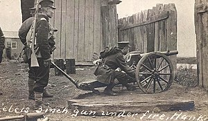 Battle of Yangxia - Artillerymen of the Revolutionary Army take aim on Qing Army positions during the Battle of Yangxia.
