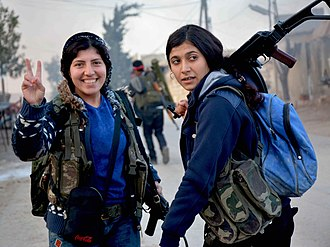 Kurdish–Turkish conflict (1978–present) - Women's Protection Units (YPJ) fighters in the Afrin Region during the Turkish invasion in 2018
