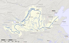 Current Course of the Yellow River with major cities