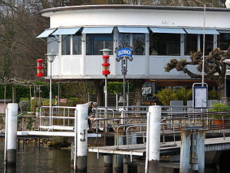 Erlenbach, Switzerland - ZSG landing gate on Lake Zurich's shore