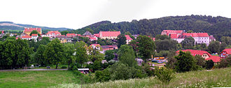Zlatá Koruna - The village seen from the east. Cistercian monastery is visible to the right.