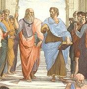 """File:""""The School of Athens"""" by Raffaello Sanzio da Urbino (cropped).jpg"""