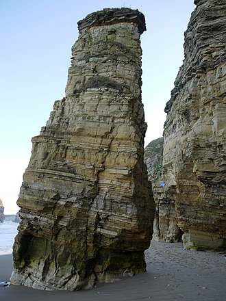 Lot's wife - The 'Lot's wife' sea-stack, Marsden Bay, South Shields, North East England, United Kingdom located on the North Sea coast