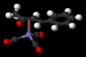 (Benzylideneacetone)iron tricarbonyl - Image: (benzylideneacetone) iron tricarbonyl 3D balls