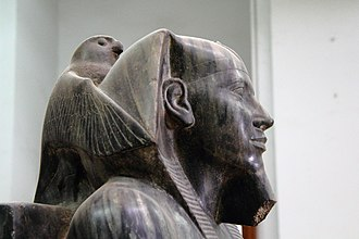 Ancient Egyptian religion - Statue of Khafre, an Old Kingdom pharaoh, embraced by Horus