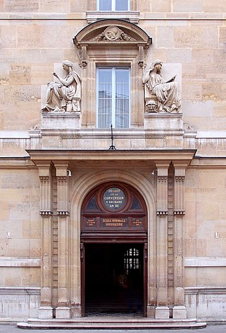 École normale supérieure (Paris) - Entrance of the historic building of the ENS, at 45, rue d'Ulm. The inscriptions on the pediment of the monumental doorway display the school's two dates of creation (the first, in the oculus, under the National Convention) and date of installation in this premise.