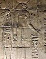 Égypte, Île Agilka, Complexe de Philae, Temple d'Isis, Salle hypostyle ou naos, bas-relief Ia déesse Sekhmet (49758236517).jpg