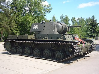 German encounter of Soviet T-34 and KV tanks - KV-1 (45 tonnes) on display in Kirovsk