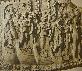 Pontoon bridge - A relief of a Roman bridge of boats by Cichorius