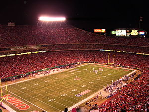 Arrowhead Stadium - Arrowhead Stadium at night, during the Chiefs' Thanksgiving 2006 game against the Broncos.