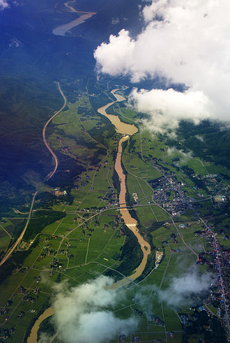 Waga River - Aerial view of the Waga River with Ishibane Dam in the center and Yuda Dam and Lake Kinshu visible in the distance