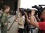 100730-F-0000X-002 First female F-22 pilot Maj. Jammie Jamieson interviewed at Osan Air Base, July 26, 2010.jpg
