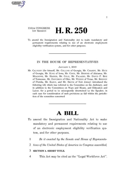 File:116th United States Congress H. R. 0000250 (1st session) - Legal Workforce Act.pdf