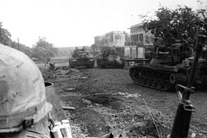 Khmer Republic - American troops of the 11th Armored Cavalry enter Snuol, Cambodia, 4 May 1970.