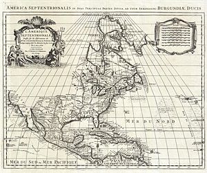 "Illinois Country - French Map of North America 1700 (Covens and Mortier ed. 1708) -- ""PAYS DES ILINOIS"", near center"