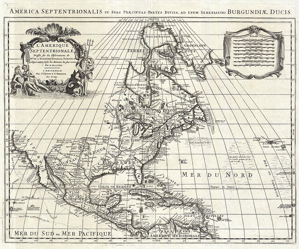 1708 De L'Isle Map of North America (Covens and Mortier ed.) - Geographicus - AmeriqueSeptentrionale-covensmortier-1708