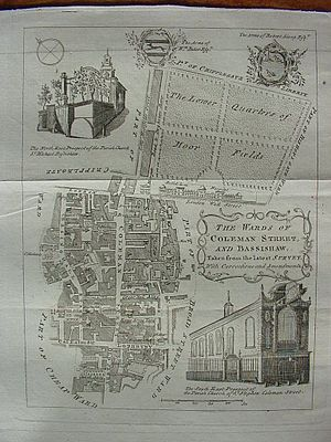 Basinghall Street - 1754 map showing Basinghall Street and surrounding area