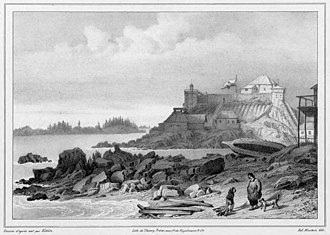 Castle Hill (Sitka, Alaska) - 1827 illustration of Castle Hill in Russian-controlled Sitka.  The hilltop building was an imposing fortification on a hill overlooking the water and Tlingit areas.