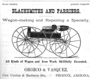 Timeline of Phoenix, Arizona - Image: 1888 Orozco ad Phoenix Arizona
