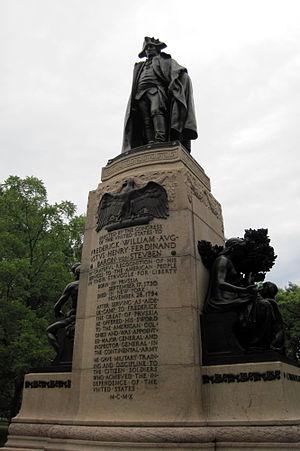 Major General Friedrich Wilhelm von Steuben - Image: 1910Steuben Monument Albert Jaegers