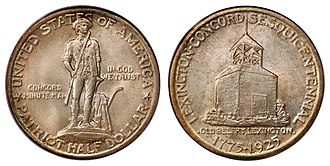 Lexington-Concord Sesquicentennial half dollar - Image: 1925 50C Lexington