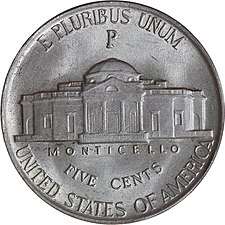 Reverse of a wartime nickel, with the P mintmark of the Philadelphia mint located above Monticello 1945-P-Jefferson-War-Nickel-Reverse.JPG